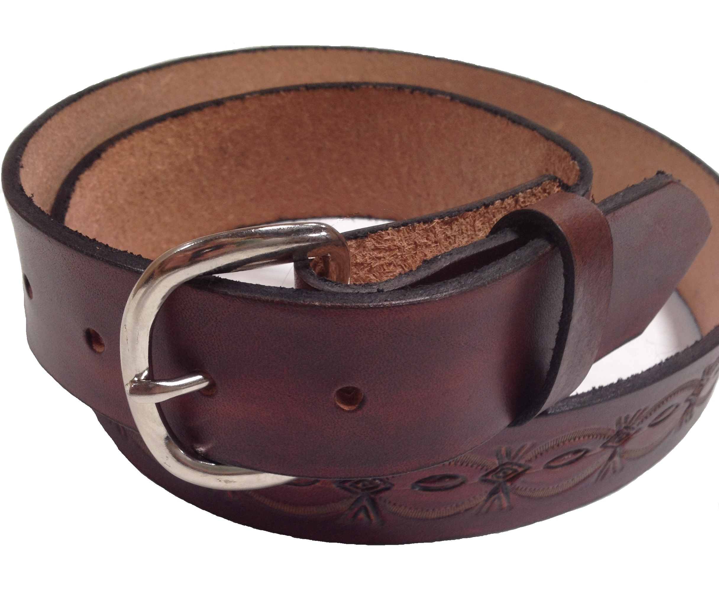 handmade mens leather belt 1 5 quot wide crowsfoot sted design