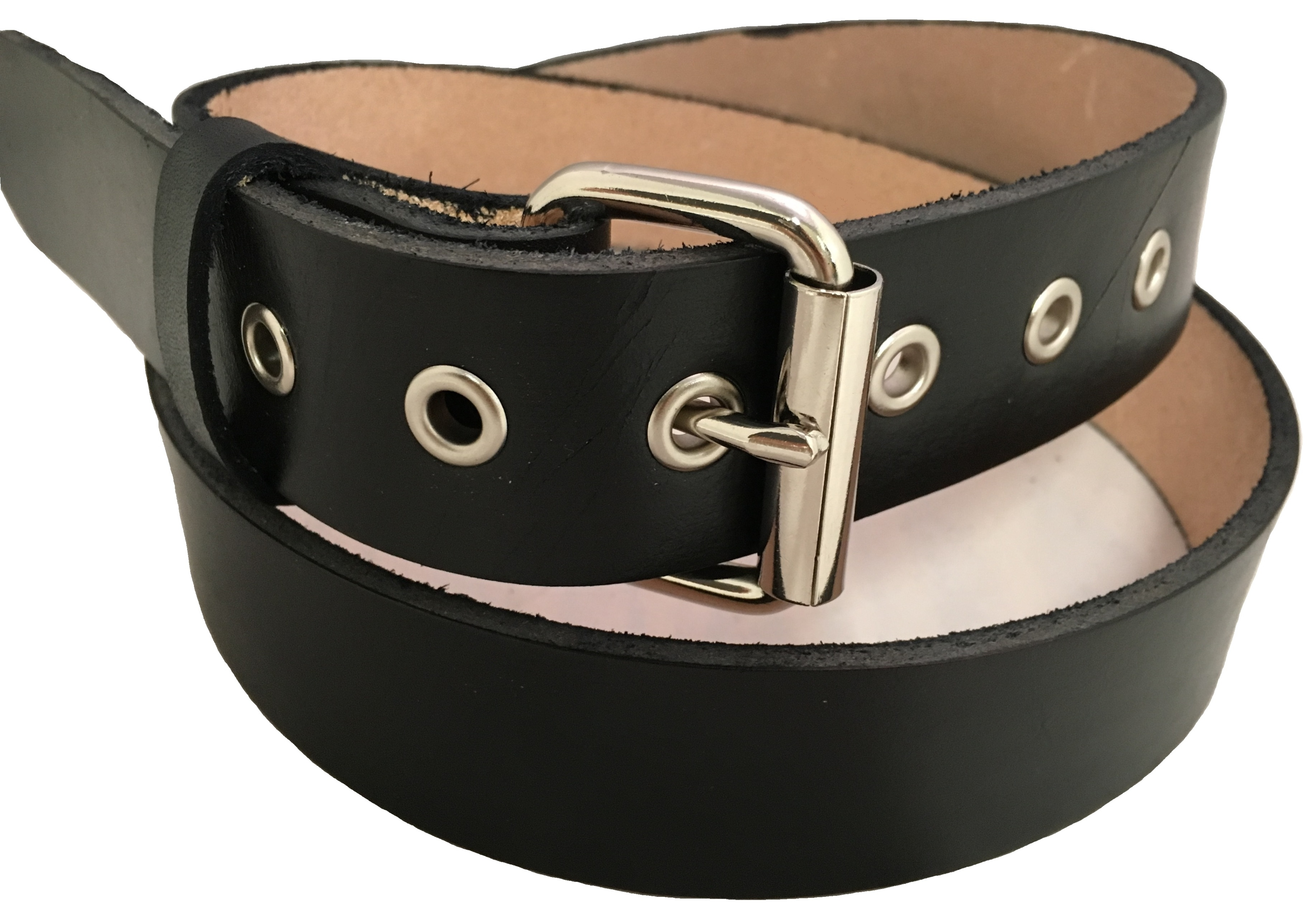 handmade mens leather belt reinforced holes and roller